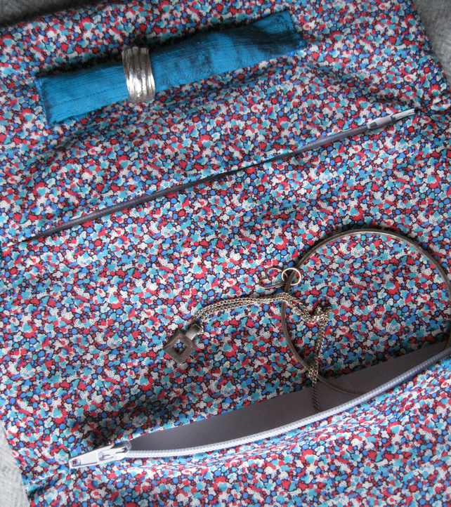 Quilted Silk Jewellery Roll - turquoise, floral, gift, her, Christmas, holiday