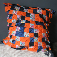 Feather pleated cushion, mixed fabric floral, textured, blue, orange