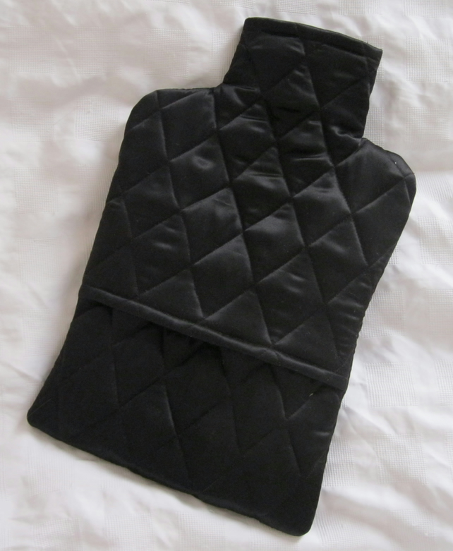 Cosy Warm Quilted Silk Hot Water Bottle Cover - black, gift for her, Christmas