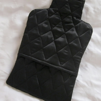 Cosy Warm Quilted Silk Hot Water Bottle Cover - black, gift for her, Valentine