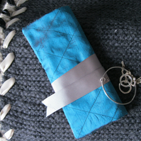 Quilted Silk Jewellery Roll - teal, floral, gift for her, Valentine, holiday