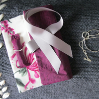 Quilted Silk Jewellery Roll - plum, floral, gift for her, Valentine, holiday