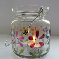 Hand painted glass T-light votive