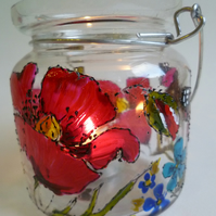 Butterfly and Poppy glass t-light holder