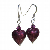 UK FREE DELIVERY Silver Amethyst Murano Glass Heart Earrings Gift Wrapped MGE1