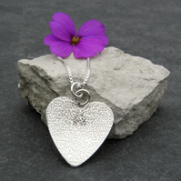 UK FREE DELIVERY Sterling Silver Textured Heart Necklace Gift Wrapped  JTAP3
