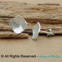 UK FREE DELIVERY Silver Stud Square Earrings – Textured Studs Gift Ideas – DDE8