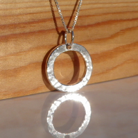 FREE DELIVERY UK Hammered Silver Circle Necklace - Handmade - Gift Wrapped SWCP2