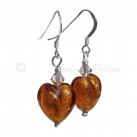 FREE DELIVERY UK Murano Glass Amber Heart Earrings, Swarovski, Silver Gift MGE2