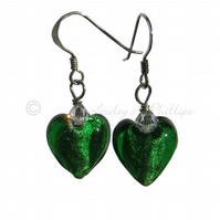 FREE DELIVERY UK Murano Glass Green Heart Earrings, Swarovski, Silver -  MGE3
