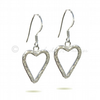 UK FREE DELIVERY Handmade Hammered SILVER Heart EARRINGS Gift Wrapped Idea JTAE7
