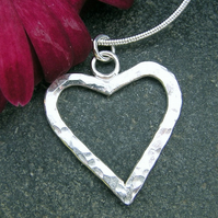 FREE DELIVERY Hammered Silver HEART Necklace Handmade Christmas Gift Ideas JTAP2