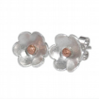 FREE DELIVERY UK Silver Copper Flowers Stud Earrings - Handmade Gift JTAE10