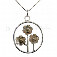 FREE DELIVERY UK Handmade Silver Flower Basket Necklace - Gift Ideas GCP18
