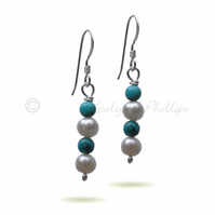 FREE DELIVERY UK Turquoise Pearl Silver Drop Earrings Gift Wrapped Ideas BCE10