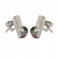 FREE DELIVERY UK Handmade Silver Textured Bars Stud Earrings Jewellery Gift DDE6