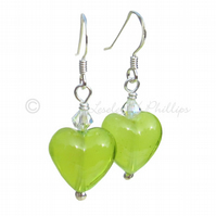 UK FREE DELIVERY Murano Glass Silver Lime Green Heart Earrings - Gifts MGE3Car13