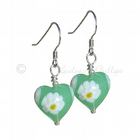 UK FREE DELIVERY Murano Glass Silver Green Daisy Heart Earrings – Daisies MGE3d