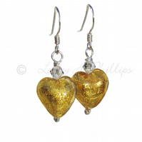 UK FREE DELIVERY Murano Glass 24ct Gold Silver Heart Earrings Gift Wrapped MGE5G