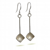 FREEPOST Handmade Silver Long Drop Earrings, Textured Squares Gift Wrapped DDE16