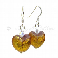 UK FREE DELIVERY Silver Murano Glass Yellow Amber Heart Earrings Gift Idea MGE2a
