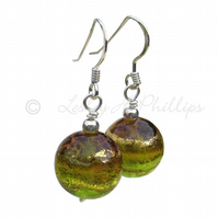 FREE POST UK Silver Murano Green Gold Round Sphere Earrings Gift Wrapped MGER3G1