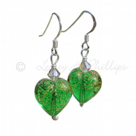 UK FREE DELIVERY Silver Murano Green Gold Heart Earrings – Gift Wrapped MGE3CoD
