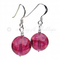 UK FREE DELIVERY Silver Murano PINK Round Ball Earrings - Gift Wrapped MGER9cp