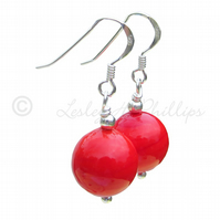 FREE DELIVERY Silver Murano Earrings RED Round Balls Gift Wrapped Handmade MGER4
