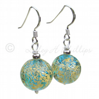 FREE POST Silver Murano Earrings Blue Gold Round Balls Gift Wrapped  MGER10ACoD