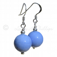 FREE DELIVERY Silver MURANO Earrings Light BLUE Round Balls Gift Wrapped MGER10b