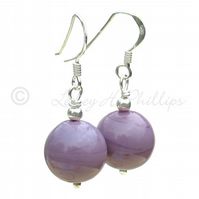 UK FREE DELIVERY Silver MURANO Earrings PURPLE Round Spheres Gift Wrapped MGER12