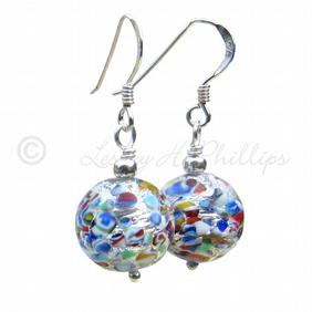 FREE POST Silver MURANO Earrings Yellow, Red, Blue Green Round Balls Gift MGER15