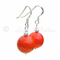 UK FREE DELIVERY Silver MURANO Earrings ORANGE Round Balls Gift Wrapped MGER16