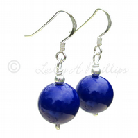 UK FREE DELIVERY Silver Murano Dark Blue Round Ball Earrings Gift Wrapped MGER10