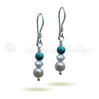 FREE POST UK Silver Turquoise Pearl Swarovski Drop Earrings - Gift Wrapped BCE12