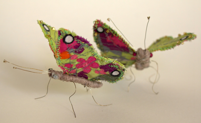 Embroidered green & pink textile butterfly with gold beading
