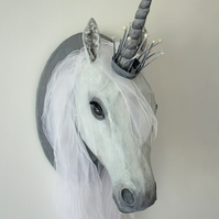 Unicorn head with jewelled crown. Mixed media wall sculpture. Made by hand.