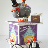 Circus box with headless ringmaster, elephant, bird, small dog & accessories
