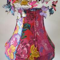 Hand-stitched panelled lampshade with butterflies, lined, handmade bias trim.