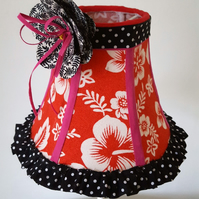 Hand-stitched traditional lampshade, candle lampshade, handmade corsage & trim.