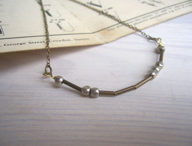 Love Morse Code necklace - mixed metals - handmade