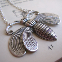 Large Honey Bee necklace - ornate silver bee - gift for gardener