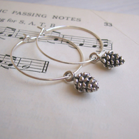 Silver Pine Cones hoop earrings - silver plated charms - handmade