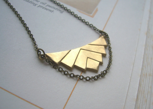 Elegant Deco necklace - golden geometric pendant - handmade