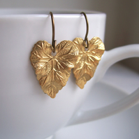Golden Ivy Leaf earrings - botanical brass leaf - handmade