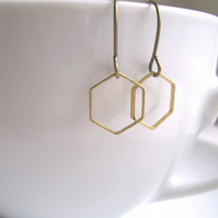 Delicate Honeycomb hexagon earrings - mixed metals golden brass geometric shapes