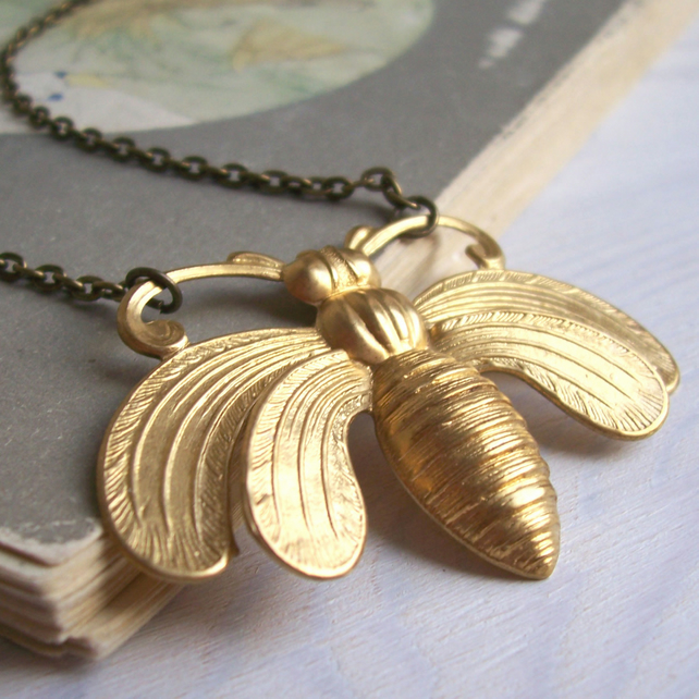 Large Honey Bee necklace - ornate gold bee - raw brass - gift for gardener