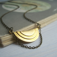 Elegant Moon Deco necklace - golden geometric pendant - handmade