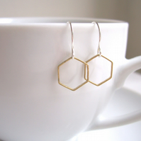Delicate Honeycomb hexagon earrings on silver - geometric mixed metals